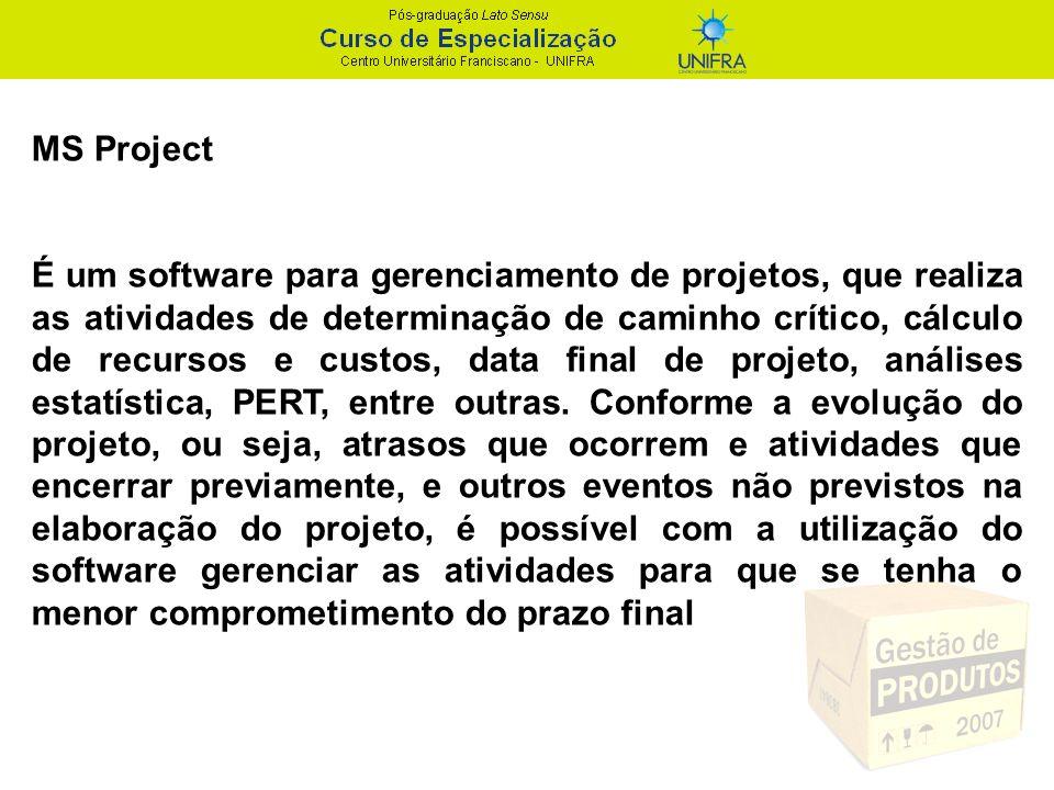 MS Project É um software para gerenciamento de projetos, que realiza as atividades de determinação de caminho crítico, cálculo de recursos e custos, d