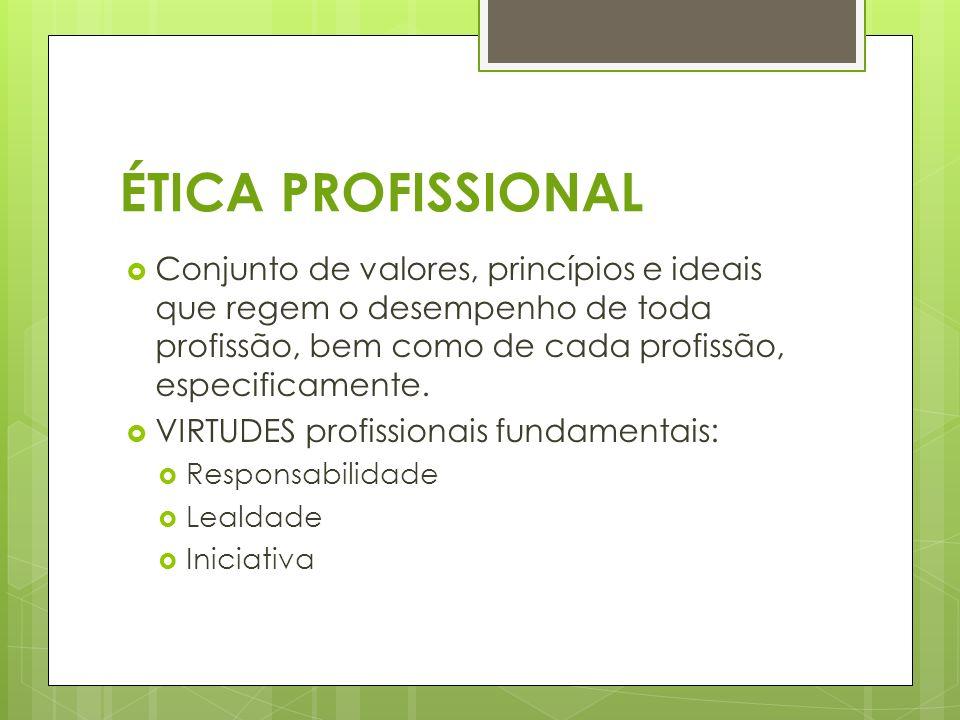 ÉTICA PROFISSIONAL Conjunto de valores, princípios e ideais que regem o desempenho de toda profissão, bem como de cada profissão, especificamente. VIR