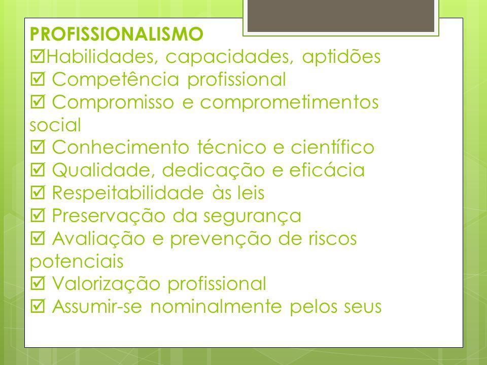 PROFISSIONALISMO Habilidades, capacidades, aptidões Competência profissional Compromisso e comprometimentos social Conhecimento técnico e científico Q