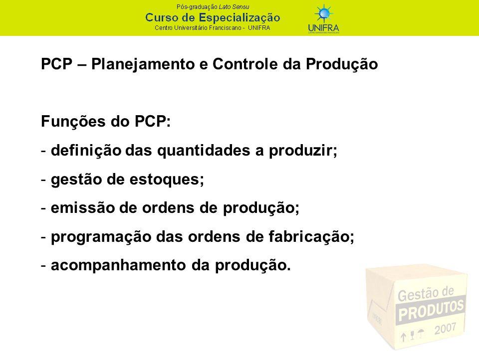 PCP – Planejamento e Controle da Produção Funções do PCP: - definição das quantidades a produzir; - gestão de estoques; - emissão de ordens de produçã