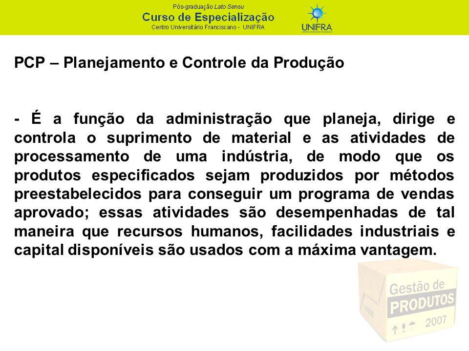 PCP – Planejamento e Controle da Produção -Envolve geralmente a organização e o planejamento dos processos de fabricação.