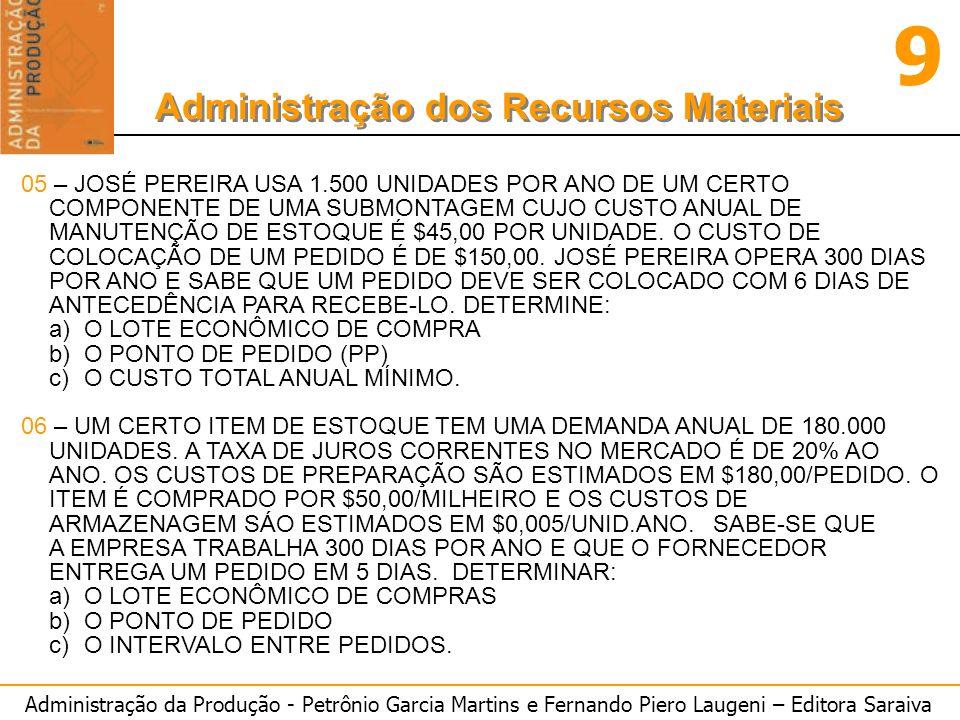 Administração da Produção - Petrônio Garcia Martins e Fernando Piero Laugeni – Editora Saraiva 9 Administração dos Recursos Materiais 05 – JOSÉ PEREIR