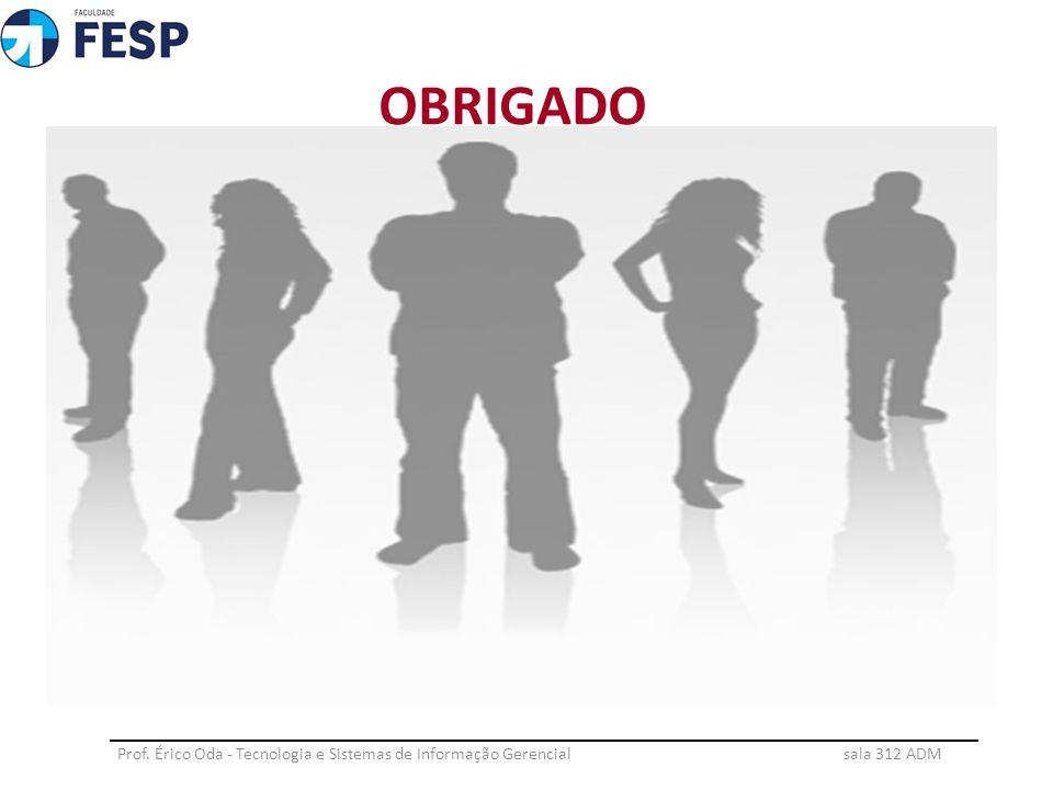 OBRIGADO Prof. Érico Oda - Tecnologia e Sistemas de Informação Gerencial sala 312 ADM ________________________________________________________________