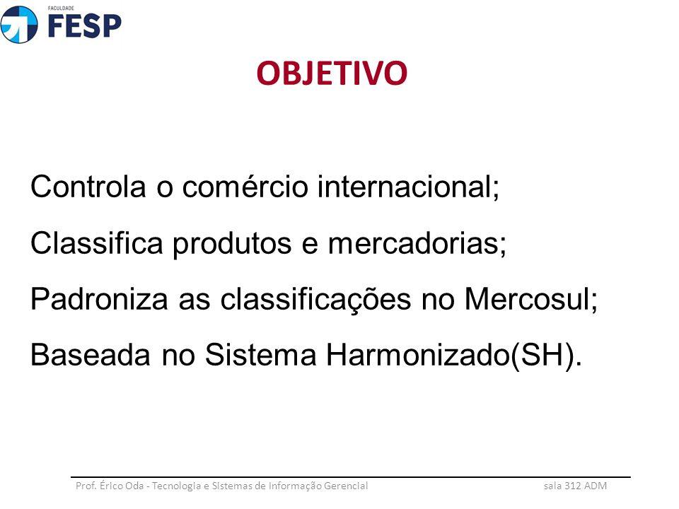 Controla o comércio internacional; Classifica produtos e mercadorias; Padroniza as classificações no Mercosul; Baseada no Sistema Harmonizado(SH). OBJ