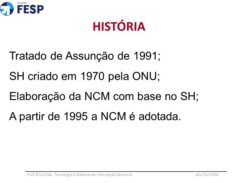 Tratado de Assunção de 1991; SH criado em 1970 pela ONU; Elaboração da NCM com base no SH; A partir de 1995 a NCM é adotada. HISTÓRIA Prof. Érico Oda