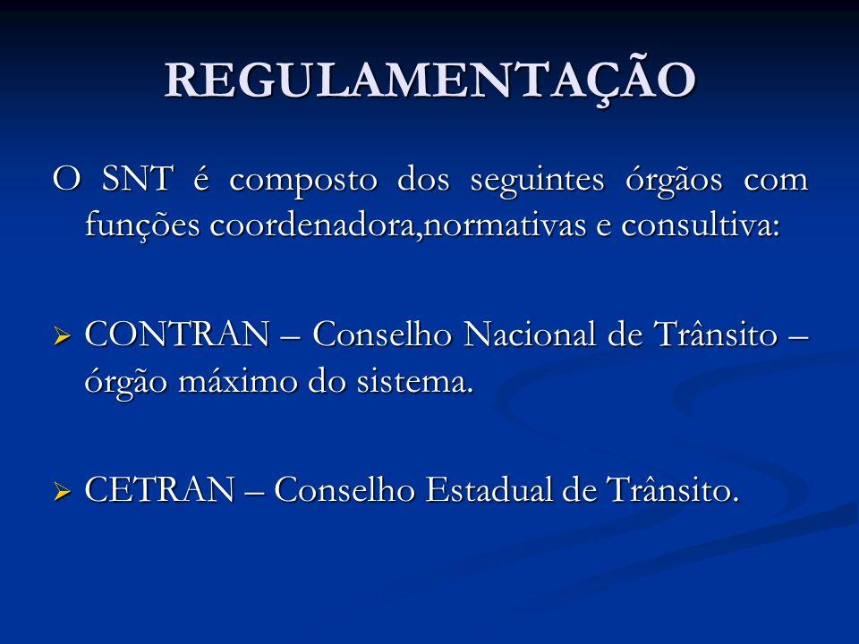 REGULAMENTAÇÃO O SNT é composto dos seguintes órgãos com funções coordenadora,normativas e consultiva: CONTRAN – Conselho Nacional de Trânsito – órgão