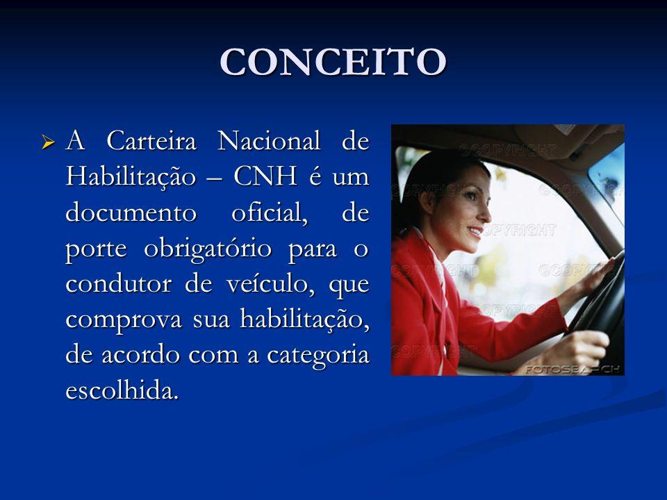 CONCEITO A Carteira Nacional de Habilitação – CNH é um documento oficial, de porte obrigatório para o condutor de veículo, que comprova sua habilitaçã