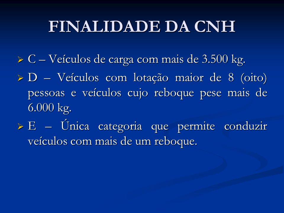 FINALIDADE DA CNH C – Veículos de carga com mais de 3.500 kg. C – Veículos de carga com mais de 3.500 kg. D – Veículos com lotação maior de 8 (oito) p