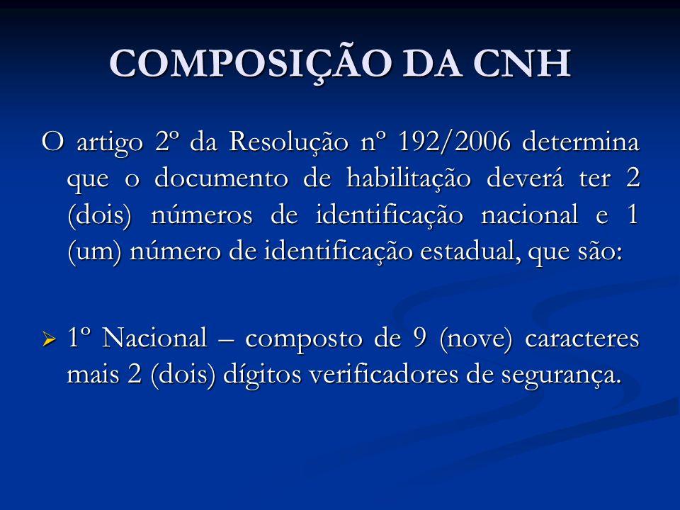 COMPOSIÇÃO DA CNH O artigo 2º da Resolução nº 192/2006 determina que o documento de habilitação deverá ter 2 (dois) números de identificação nacional