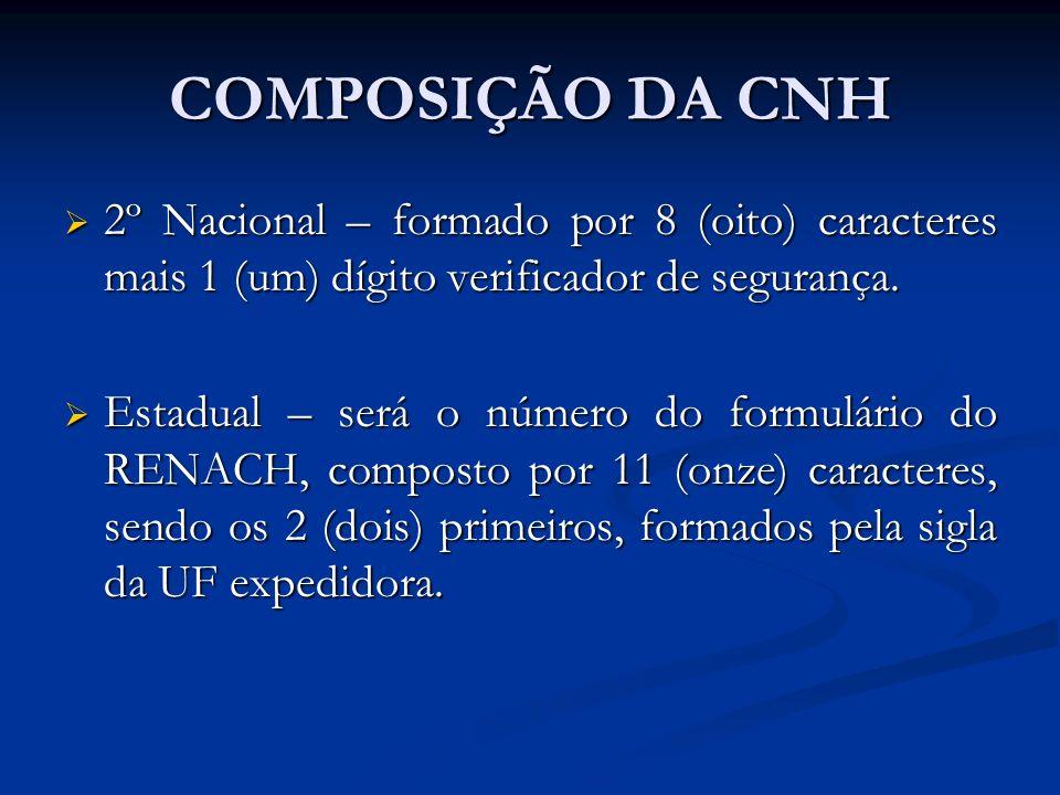 COMPOSIÇÃO DA CNH 2º Nacional – formado por 8 (oito) caracteres mais 1 (um) dígito verificador de segurança. 2º Nacional – formado por 8 (oito) caract