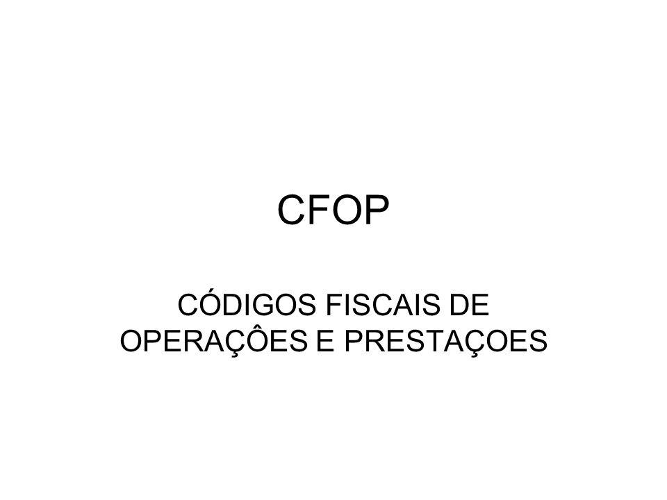 CFOP CÓDIGOS FISCAIS DE OPERAÇÔES E PRESTAÇOES