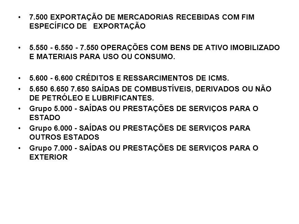 7.500 EXPORTAÇÃO DE MERCADORIAS RECEBIDAS COM FIM ESPECÍFICO DE EXPORTAÇÃO 5.550 - 6.550 - 7.550 OPERAÇÕES COM BENS DE ATIVO IMOBILIZADO E MATERIAIS P