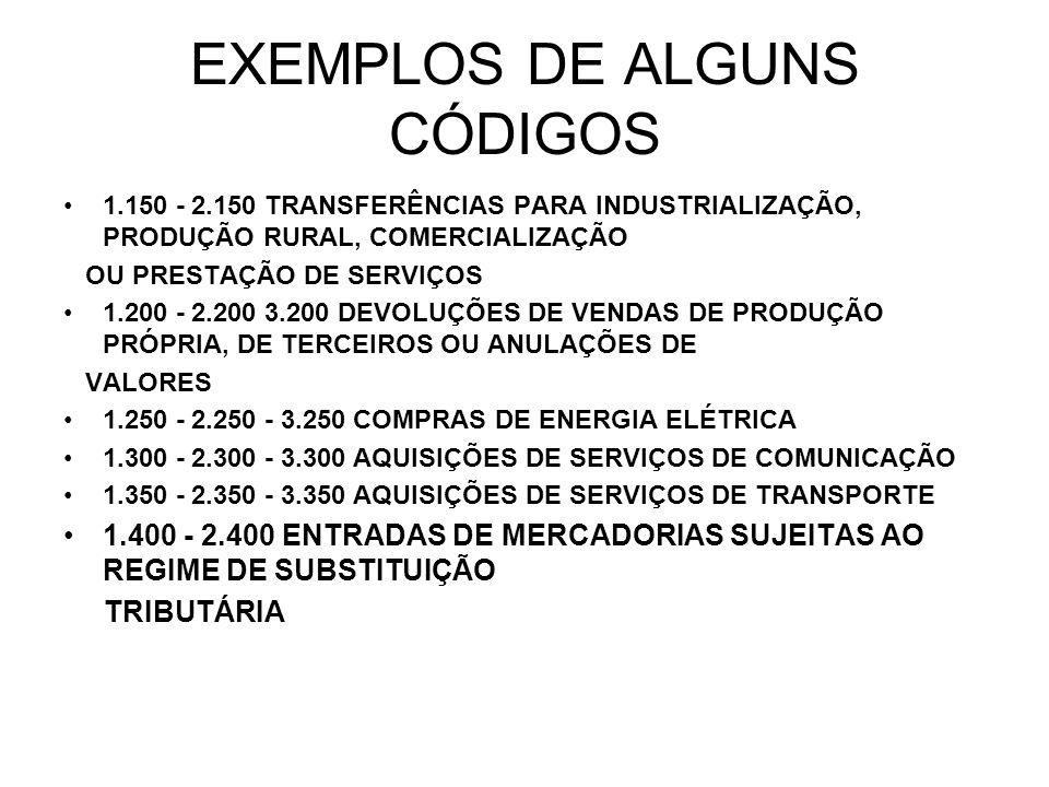 CONTINUAÇÃO: 1.450 SISTEMAS DE INTEGRAÇÃO 1.500 - 2.500 ENTRADAS DE MERCADORIAS REMETIDAS PARA FORMAÇÃO DE LOTE OU COM FIM ESPECÍFICO DE EXPORTAÇÃO E EVENTUAIS DEVOLUÇÕES (Ajuste SINIEF 09/05 1.550 - 2.550 -3.550 OPERAÇÕES COM BENS DE ATIVO IMOBILIZADO E MATERIAIS PARA USO OU CONSUMO 1.600 - 2.600 CRÉDITOS E RESSARCIMENTOS DE ICMS 1.900 - 2.900 - 3.900 OUTRAS ENTRADAS DE MERCADORIAS OU AQUISIÇÕES DE SERVIÇOS