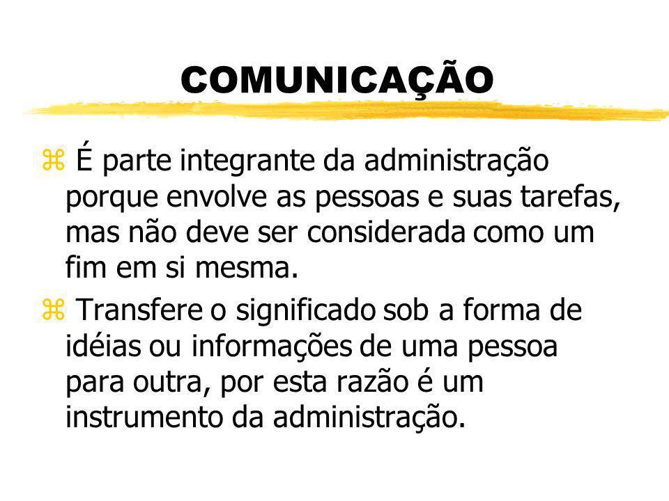 COMUNICAÇÃO z É parte integrante da administração porque envolve as pessoas e suas tarefas, mas não deve ser considerada como um fim em si mesma. z Tr