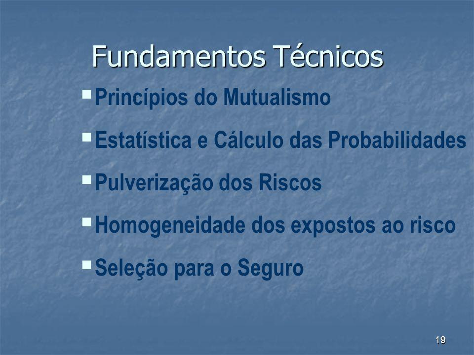 19 Fundamentos Técnicos Princípios do Mutualismo Estatística e Cálculo das Probabilidades Pulverização dos Riscos Homogeneidade dos expostos ao risco