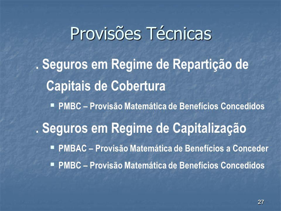 27 Provisões Técnicas. Seguros em Regime de Repartição de Capitais de Cobertura PMBC – Provisão Matemática de Benefícios Concedidos. Seguros em Regime