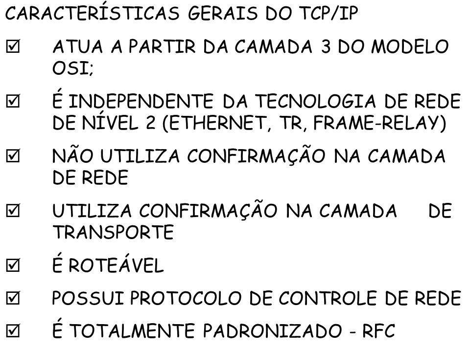 CARACTERÍSTICAS GERAIS DO TCP/IP ATUA A PARTIR DA CAMADA 3 DO MODELO OSI; É INDEPENDENTE DA TECNOLOGIA DE REDE DE NÍVEL 2 (ETHERNET, TR, FRAME-RELAY)