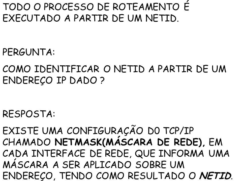 TODO O PROCESSO DE ROTEAMENTO É EXECUTADO A PARTIR DE UM NETID.