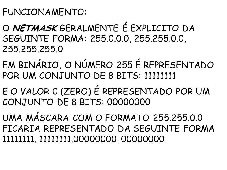 FUNCIONAMENTO: O NETMASK GERALMENTE É EXPLICITO DA SEGUINTE FORMA: 255.0.0.0, 255.255.0.0, 255.255.255.0 EM BINÁRIO, O NÚMERO 255 É REPRESENTADO POR UM CONJUNTO DE 8 BITS: 11111111 E O VALOR 0 (ZERO) É REPRESENTADO POR UM CONJUNTO DE 8 BITS: 00000000 UMA MÁSCARA COM O FORMATO 255.255.0.0 FICARIA REPRESENTADO DA SEGUINTE FORMA 11111111.