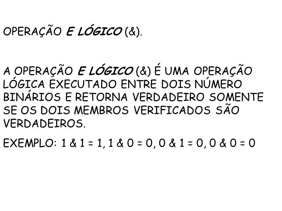 OPERAÇÃO E LÓGICO (&).