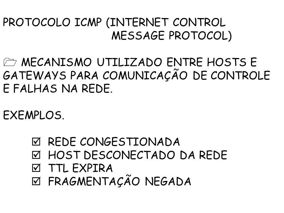 PROTOCOLO ICMP (INTERNET CONTROL MESSAGE PROTOCOL) MECANISMO UTILIZADO ENTRE HOSTS E GATEWAYS PARA COMUNICAÇÃO DE CONTROLE E FALHAS NA REDE.