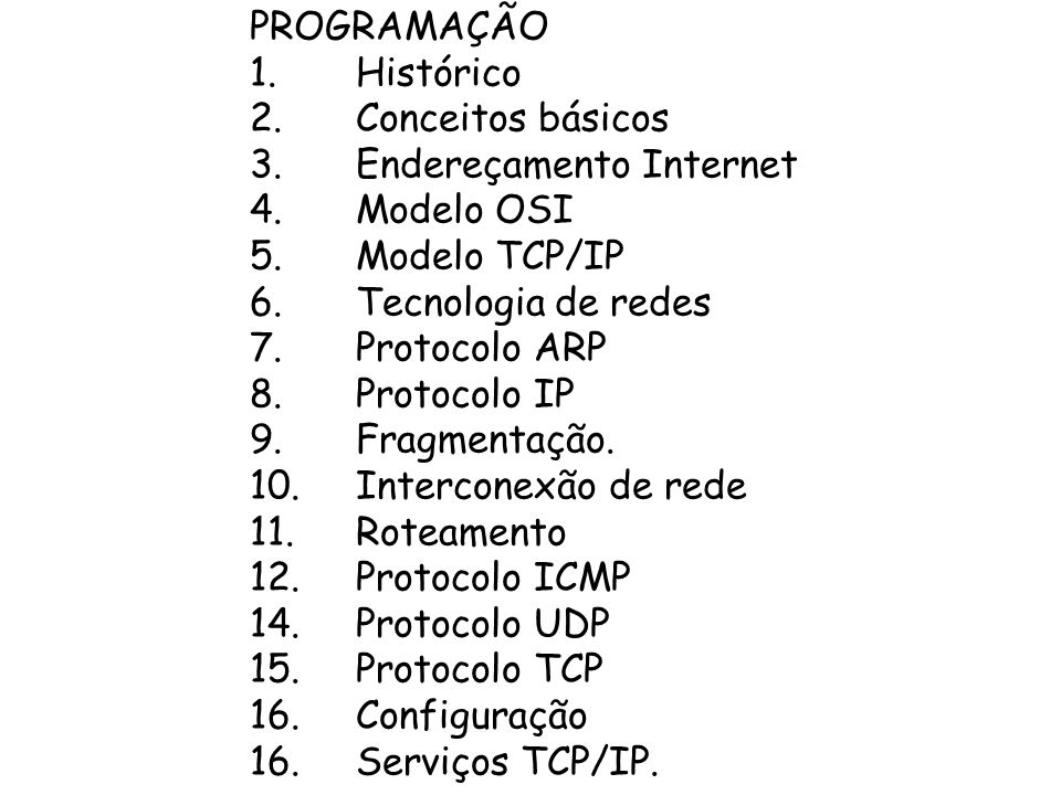 PROGRAMAÇÃO 1.Histórico 2.Conceitos básicos 3.Endereçamento Internet 4.Modelo OSI 5.Modelo TCP/IP 6.Tecnologia de redes 7.Protocolo ARP 8.Protocolo IP 9.Fragmentação.