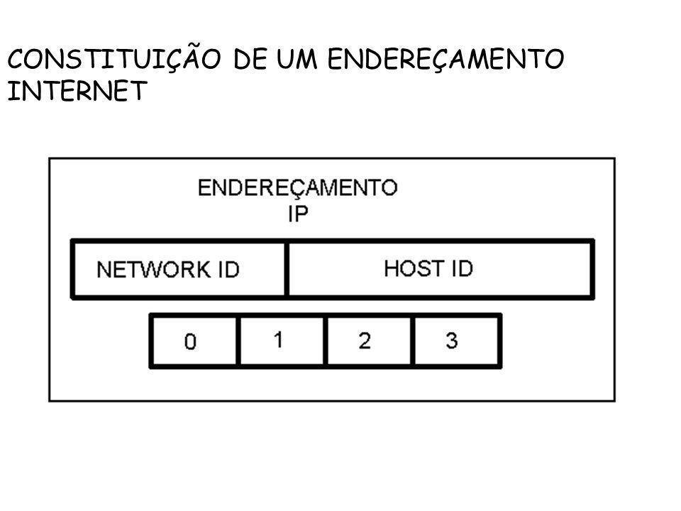 CONSTITUIÇÃO DE UM ENDEREÇAMENTO INTERNET