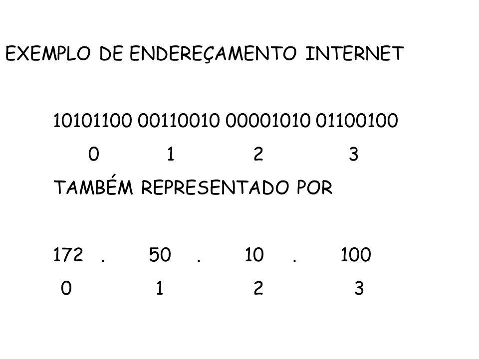 EXEMPLO DE ENDEREÇAMENTO INTERNET 10101100 00110010 00001010 01100100 0 1 2 3 TAMBÉM REPRESENTADO POR 172.50.10.100 0 1 2 3