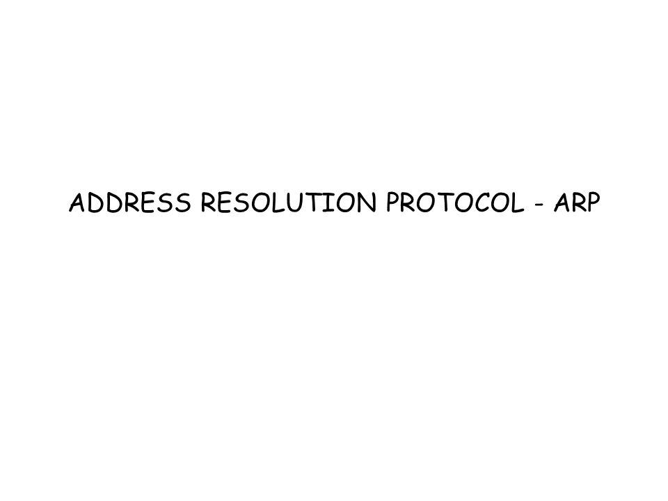 ADDRESS RESOLUTION PROTOCOL - ARP
