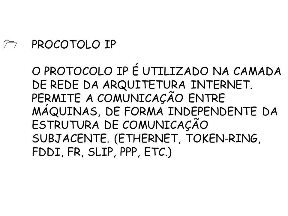 PROCOTOLO IP O PROTOCOLO IP É UTILIZADO NA CAMADA DE REDE DA ARQUITETURA INTERNET.