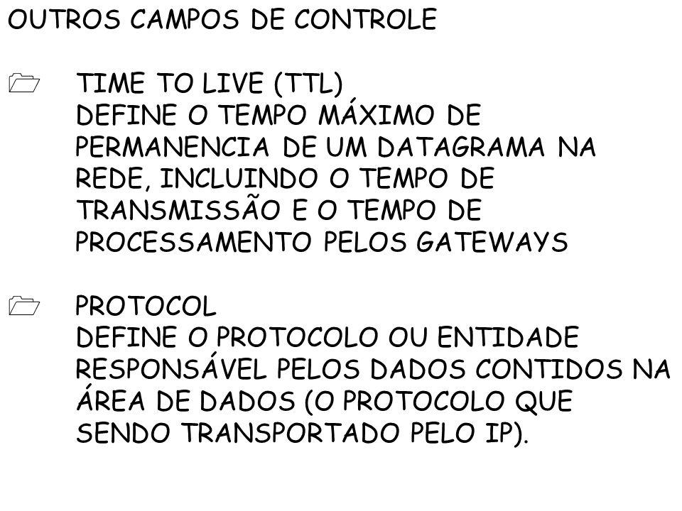 OUTROS CAMPOS DE CONTROLE TIME TO LIVE (TTL) DEFINE O TEMPO MÁXIMO DE PERMANENCIA DE UM DATAGRAMA NA REDE, INCLUINDO O TEMPO DE TRANSMISSÃO E O TEMPO DE PROCESSAMENTO PELOS GATEWAYS PROTOCOL DEFINE O PROTOCOLO OU ENTIDADE RESPONSÁVEL PELOS DADOS CONTIDOS NA ÁREA DE DADOS (O PROTOCOLO QUE SENDO TRANSPORTADO PELO IP).