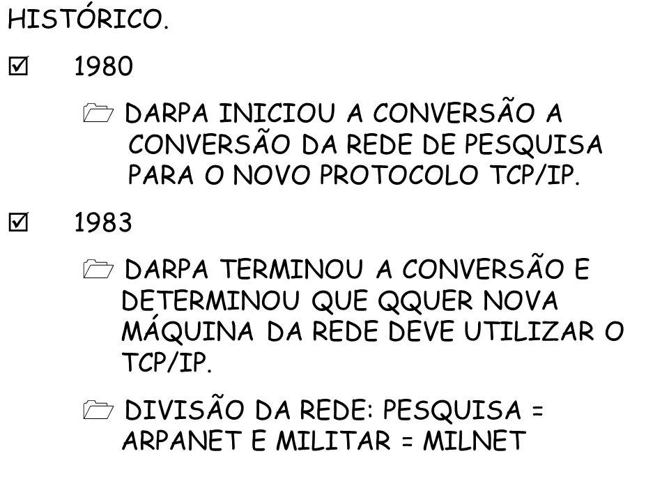 HISTÓRICO. 1980 DARPA INICIOU A CONVERSÃO A CONVERSÃO DA REDE DE PESQUISA PARA O NOVO PROTOCOLO TCP/IP. 1983 DARPA TERMINOU A CONVERSÃO E DETERMINOU Q