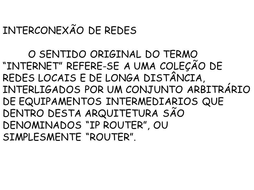 INTERCONEXÃO DE REDES O SENTIDO ORIGINAL DO TERMO INTERNET REFERE-SE A UMA COLEÇÃO DE REDES LOCAIS E DE LONGA DISTÂNCIA, INTERLIGADOS POR UM CONJUNTO ARBITRÁRIO DE EQUIPAMENTOS INTERMEDIARIOS QUE DENTRO DESTA ARQUITETURA SÃO DENOMINADOS IP ROUTER, OU SIMPLESMENTE ROUTER.