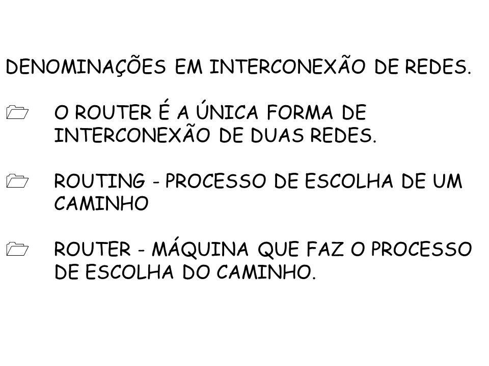 DENOMINAÇÕES EM INTERCONEXÃO DE REDES.O ROUTER É A ÚNICA FORMA DE INTERCONEXÃO DE DUAS REDES.