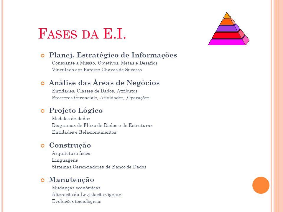 F ASES DA E.I. Planej. Estratégico de Informações Consoante a Missão, Objetivos, Metas e Desafios Vinculado aos Fatores Chaves de Sucesso Análise das