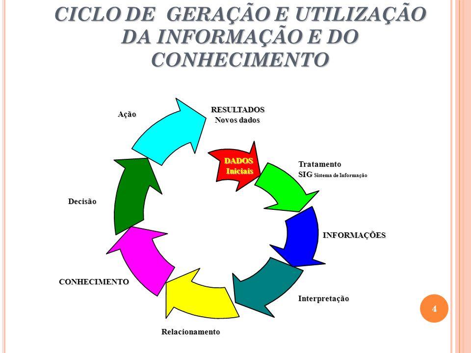 CICLO DE GERAÇÃO E UTILIZAÇÃO DA INFORMAÇÃO E DO CONHECIMENTO 4 RESULTADOS Novos dados DADOS DADOS Iniciais Iniciais INFORMAÇÕES Interpretação CONHECIMENTO Decisão Ação Relacionamento Tratamento SIG Sistema de Informação