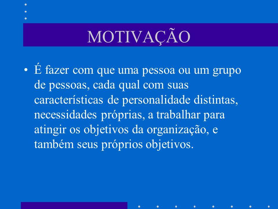 MOTIVAÇÃO É fazer com que uma pessoa ou um grupo de pessoas, cada qual com suas características de personalidade distintas, necessidades próprias, a t