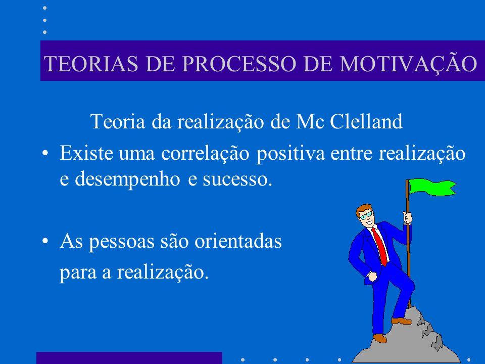 TEORIAS DE PROCESSO DE MOTIVAÇÃO Teoria da realização de Mc Clelland Existe uma correlação positiva entre realização e desempenho e sucesso. As pessoa