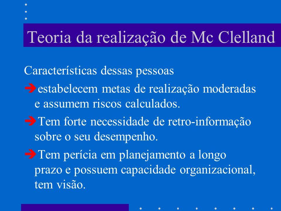 Teoria da realização de Mc Clelland Características dessas pessoas è estabelecem metas de realização moderadas e assumem riscos calculados. è Tem fort