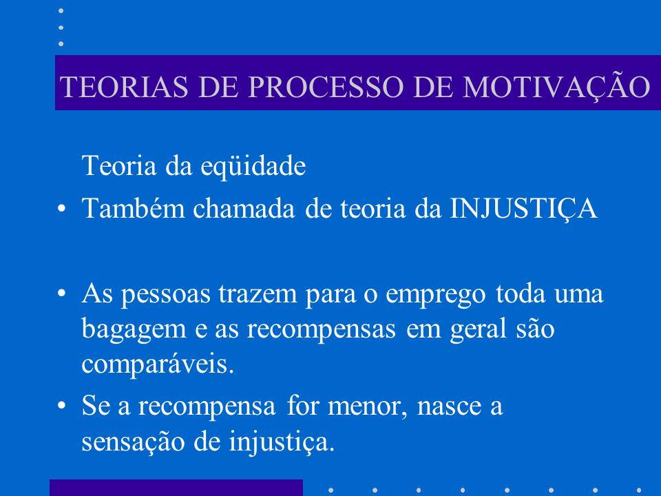 TEORIAS DE PROCESSO DE MOTIVAÇÃO Teoria da eqüidade Também chamada de teoria da INJUSTIÇA As pessoas trazem para o emprego toda uma bagagem e as recom