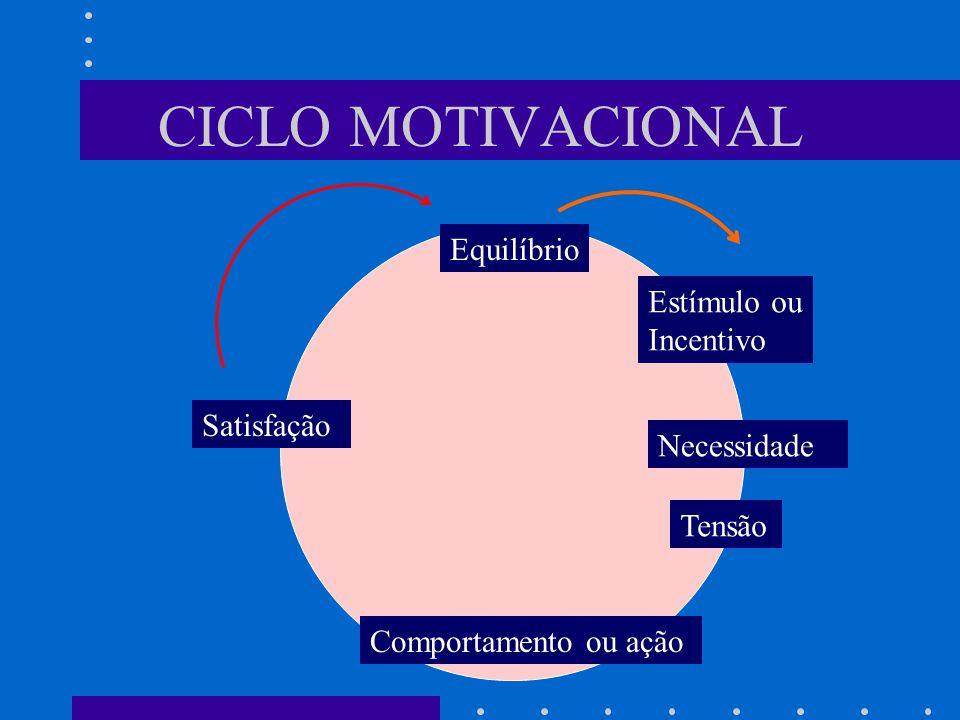 CICLO MOTIVACIONAL Equilíbrio Estímulo ou Incentivo Necessidade Tensão Comportamento ou ação Satisfação