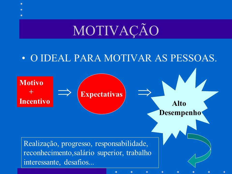 MOTIVAÇÃO O IDEAL PARA MOTIVAR AS PESSOAS. Motivo + Incentivo Expectativas Alto Desempenho Realização, progresso, responsabilidade, reconhecimento,sal