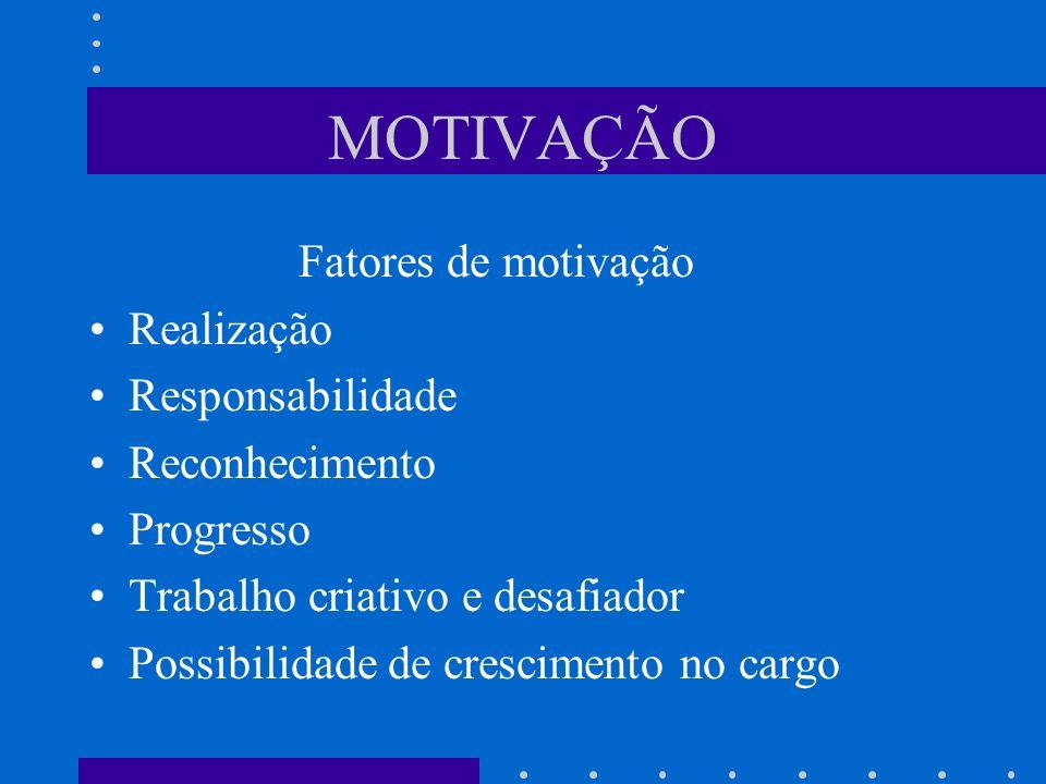 MOTIVAÇÃO Fatores de motivação Realização Responsabilidade Reconhecimento Progresso Trabalho criativo e desafiador Possibilidade de crescimento no car