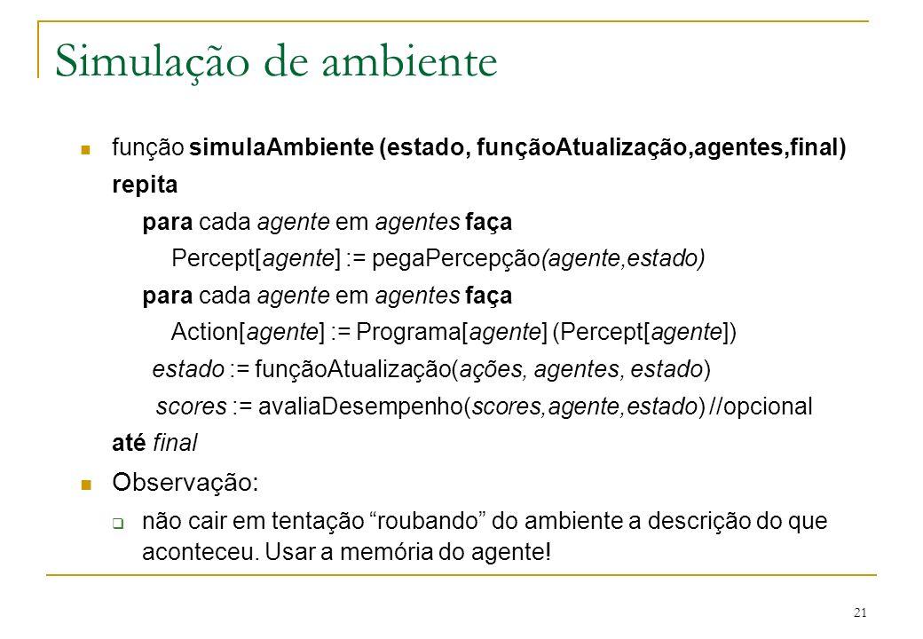 21 Simulação de ambiente função simulaAmbiente (estado, funçãoAtualização,agentes,final) repita para cada agente em agentes faça Percept[agente] := pe