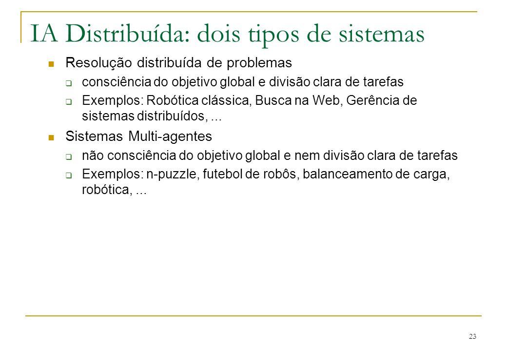 23 IA Distribuída: dois tipos de sistemas Resolução distribuída de problemas consciência do objetivo global e divisão clara de tarefas Exemplos: Robót
