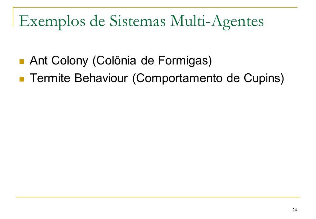 24 Exemplos de Sistemas Multi-Agentes Ant Colony (Colônia de Formigas) Termite Behaviour (Comportamento de Cupins)