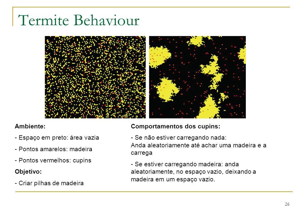 26 Termite Behaviour Ambiente: - Espaço em preto: área vazia - Pontos amarelos: madeira - Pontos vermelhos: cupins Objetivo: - Criar pilhas de madeira