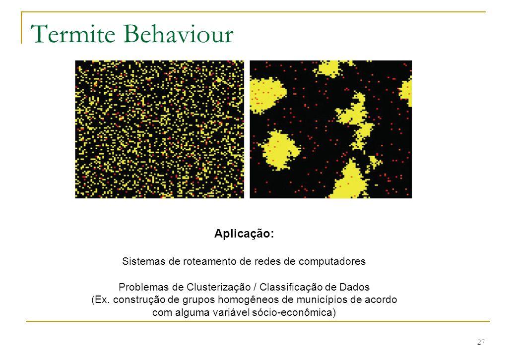 27 Termite Behaviour Aplicação: Sistemas de roteamento de redes de computadores Problemas de Clusterização / Classificação de Dados (Ex. construção de