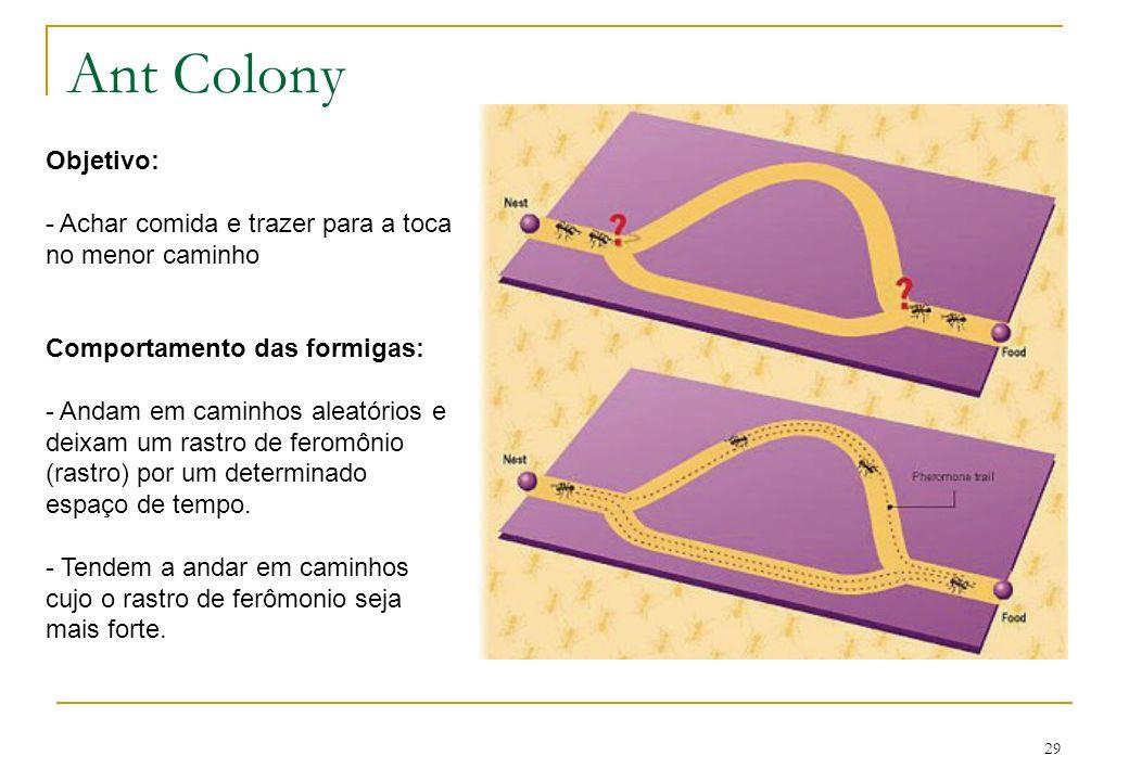 29 Ant Colony Objetivo: - Achar comida e trazer para a toca no menor caminho Comportamento das formigas: - Andam em caminhos aleatórios e deixam um ra