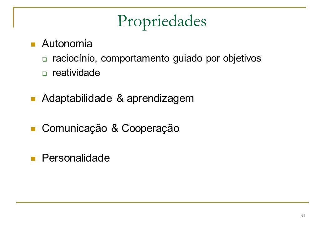 31 Propriedades Autonomia raciocínio, comportamento guiado por objetivos reatividade Adaptabilidade & aprendizagem Comunicação & Cooperação Personalid